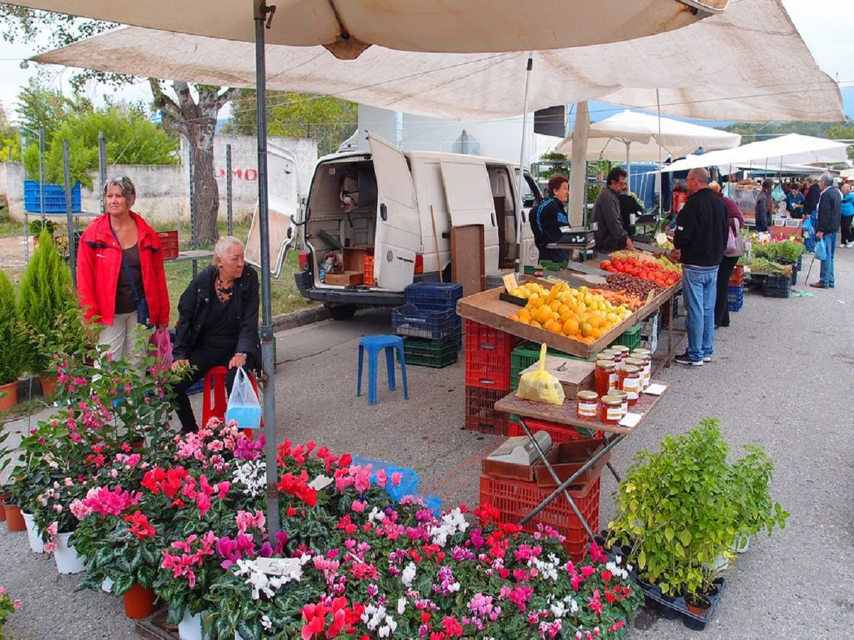 Picure showing flowers for sale at the local market